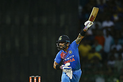 September 6, 2017 - Colombo, Sri Lanka - Indian cricket captain Virat Kohli plays a shot during the 1st and only T-20 cricket match between Sri Lanka and India at R Premadasa International cricket stadium in Colombo, Sri Lanka on Wednesday 6 September 2017. (Credit Image: © Tharaka Basnayaka/NurPhoto via ZUMA Press)