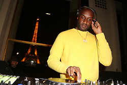 "Virgil Abloh performs at the launch of Evian and Virgil Abloh's limited-edition ""One Drop can make a Rainbow"" collection at Théâtre National de Chaillot in Paris, France on February 25, 2019. Photo by Jerome Domine/ABACAPRESS.COM"
