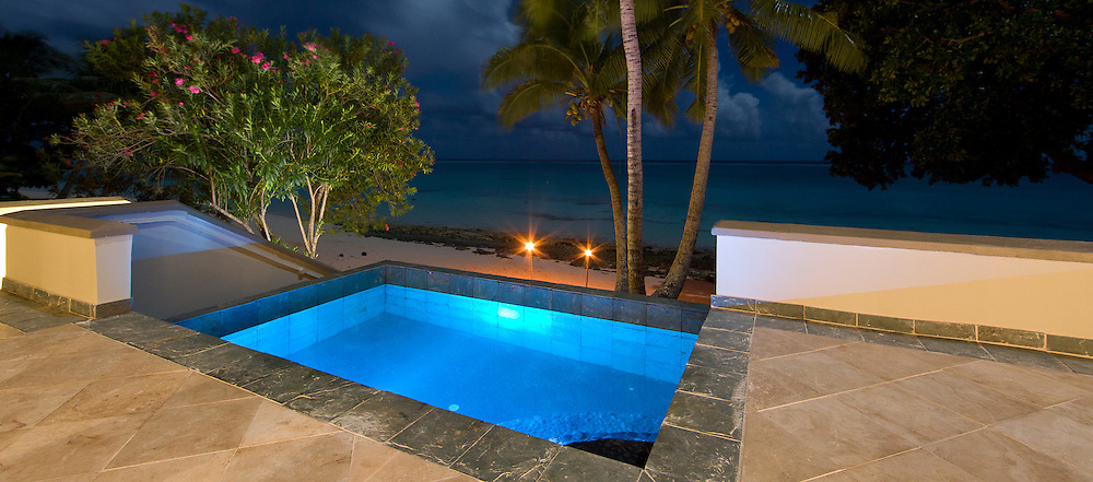 Private Hotel Room Plunge Pool, Lit at Night, with View of Ocean, Fiji