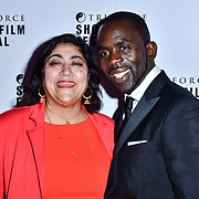 Gurinder Chadha, Jimmy Akingbola attend TriForce Short Festival, on 30 November 2019, at BFI Southbank, London, UK.