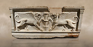 Roman relief sculpted sarcophagus of Achilles from Attica. This side shows two griffin and  bears characteristics of the Late Antonines Period of the Roman Imperial Period between 170-190 AD. Adana Archaeology Museum, Turkey. .<br /> <br /> If you prefer to buy from our ALAMY STOCK LIBRARY page at https://www.alamy.com/portfolio/paul-williams-funkystock/greco-roman-sculptures.html . Type -    Adana     - into LOWER SEARCH WITHIN GALLERY box - Refine search by adding a subject, place, background colour, museum etc.<br /> <br /> Visit our ROMAN WORLD PHOTO COLLECTIONS for more photos to download or buy as wall art prints https://funkystock.photoshelter.com/gallery-collection/The-Romans-Art-Artefacts-Antiquities-Historic-Sites-Pictures-Images/C0000r2uLJJo9_s0
