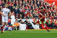 Trent Alexander-Arnold of Liverpool tries a shot at goal from long range. Premier League match, Liverpool v Burnley at the Anfield stadium in Liverpool, Merseyside on Saturday 16th September 2017.<br /> pic by Chris Stading, Andrew Orchard sports photography.