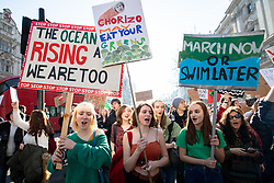© Licensed to London News Pictures. 15/02/2019. London, UK. Young people demonstrate against climate change as part of the group 'Youth Strike 4 Climate'. Many children across the UK today walked out of school as part of a global campaign calling for action over climate change. Photo credit : Tom Nicholson/LNP
