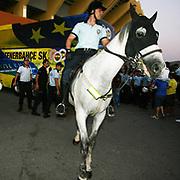 Security police with horse around the stadium before their Turkish superleague soccer match S.B. Elazigspor between Fenerbahce at the Ataturk stadium in izmir Turkey on Saturday 18 August 2012. Photo by TURKPIX