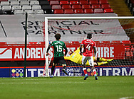 Rochdale's Kwadwo Baah scores his first goal during the EFL Sky Bet League 1 match between Charlton Athletic and Rochdale at The Valley, London, England on 12 January 2021.