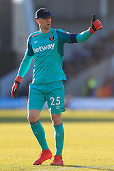 7th January 2018 - FA Cup - 3rd Round - Shrewsbury Town v West Ham United - West Ham goalkeeper Joe Hart gives the thumbs up to thank a fan who lent him their cap - Photo: Simon Stacpoole / Offside.