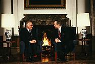 Washington, DC 1989/04/01 President H.W. Bush (Bush 41), and King Hussein of Jordan at the White House. <br />Photo by Dennis Brack