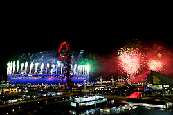 © Licensed to London News Pictures.29/08/2012 LONDON UK.Fireworks mark the Climax to the celebrations of the opening ceremony of the London2012 Paralympic Games Photo credit : Andrew Baker/LNP