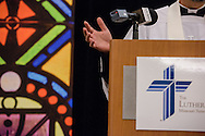 The Rev. Bart Day, executive director of LCMS Office of National Mission, thanks attendees at the end of prayer at the conclusion of the 2017 LCMS Life Conference on Sunday, Jan. 29, 2017, in Arlington, Va. LCMS Communications/Erik M. Lunsford