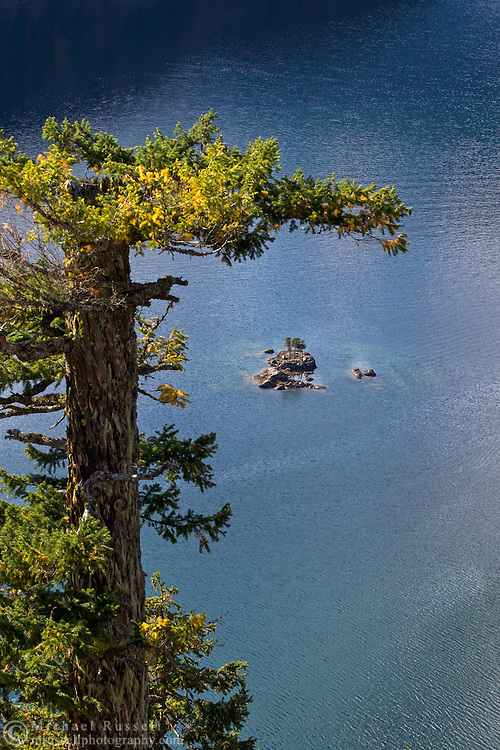A small island on Diablo Lake in North Cascades National Park, Washington State, USA.  Photographed from the Diablo Lake Overlook on the North Cascades Highway (SR 20).