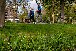Bas van de Goor and alderman for sports Nadine Stemerdink of the municipality of Leidschendam take a walk and discuss the approach to the NDC after the corona crisis on May 03, 2021 in Leidschendam