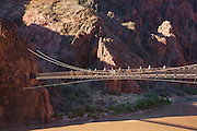 Pack mules cross the suspension bridge and tunnel on the South Kaibab Trail at the bottom of Grand Canyon National Park, Arizona.