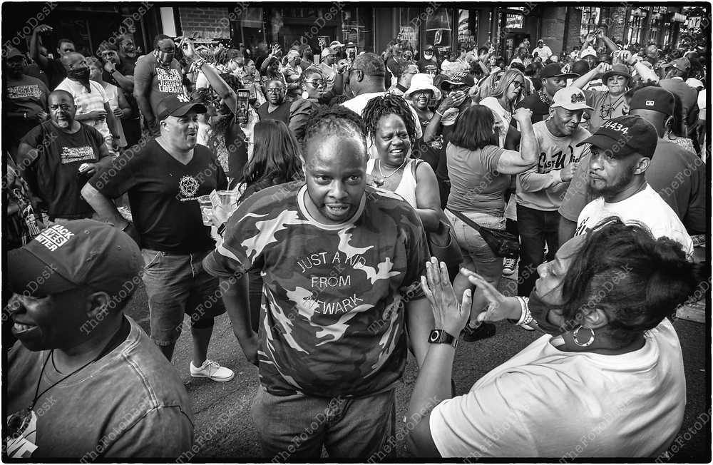 NEWARK, NEW JERSEY: Dancing during the weekly Block Party on Edison Plaice in Newark, NJ on Friday, July 30, 2021 (Brian B Price/TheFotodesk).