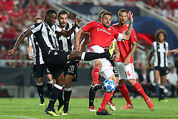 August 21, 2018 - Lisbon, Portugal - Benfica's Brazilian defender Jardel (R ) vies with PAOK's defender Fernando Varela from Portugal during the UEFA Champions League play-off first leg match SL Benfica vs PAOK FC at the Luz Stadium in Lisbon, Portugal on August 21, 2018. (Credit Image: © Pedro Fiuza via ZUMA Wire)