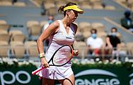Anastasia Pavlyuchenkova of Russia in action during the fourth round at the 2021 Roland Garros Grand Slam Tournament against Victoria Azarenka of Belarus