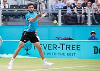 Tennis - 2019 Queen's Club Fever-Tree Championships - Day Seven, Sunday<br /> <br /> Men's Singles Final: Feliciano Lopez (ESP) Vs. Gilles Simon (FRA)<br /> <br /> Gilles Simon (FRA) in action on Centre Court.<br />  <br /> COLORSPORT/DANIEL BEARHAM