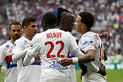 Depay Memphis of Lyon and Mendy Ferland of Lyon and Traore Bertrand of Lyon and Aouar Houssem of Lyon during the French Championship Ligue 1 football match between Olympique Lyonnais and FC Nantes on April 28, 2018 at Groupama Stadium in Décines-Charpieu near Lyon, France - Photo Romain Biard / Isports / ProSportsImages / DPPI