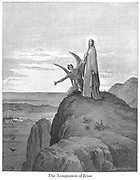 The Temptation of Jesus [Luke 4:7-8] From the book 'Bible Gallery' Illustrated by Gustave Dore with Memoir of Dore and Descriptive Letter-press by Talbot W. Chambers D.D. Published by Cassell & Company Limited in London and simultaneously by Mame in Tours, France in 1866