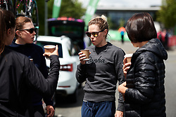 Team coffees in the CANYON//SRAM Racing camp at Stage 2 of 2019 OVO Women's Tour, a 62.5 km road race starting and finishing in the Kent Cyclopark in Gravesend, United Kingdom on June 11, 2019. Photo by Sean Robinson/velofocus.com