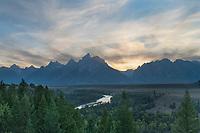 Setting sun at Snake River Overlook Grant Teton National Park Wyoming