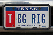 """Johny Hendricks """"BG RIG"""" personalized license plate on his dually truck on February 26, 2014."""