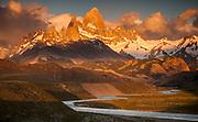 Dawn light over Cerro FitzRoy, view from La Quinta estancia, edge Parque Nacional Los Glaciares, Patagonia, Argentina.