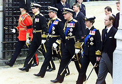 File photo dated 09/04/02 of members of the Royal Family (from second left, to right) the Duke of York, the Prince of Wales, the Duke of Edinburgh, the Princess Royal and the Earl of Wessex, following the funeral cortege of Queen Elizabeth the Queen Mother towards Westminster Abbey. The Queen mother's funeral was the last royal funeral to be extensively televised in the UK. Issue date: Friday April 16, 2021.