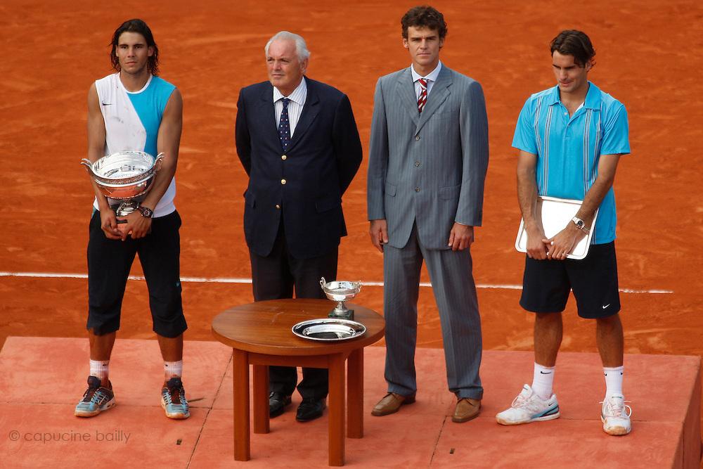 Roland Garros. Paris, France. June 10th 2007..Men's Final..Rafael NADAL won against Roger FEDERERFrom left to right: Christian BÎMES, Rafael NADAL, Gustavo KUERTEN, Roger FEDERER.