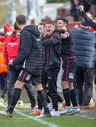 Arbroath's bench at the end. Brechin City 1 v 1 Arbroath, Scottish Football League Division One played 13/4/2019 at Brechin City's home ground Glebe Park. Arbroath win promotion.