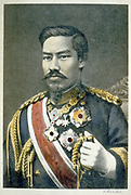 Mutsuhito, Emperor Meiji (1852-1912) 122nd Emperor of Japan from 1867. During his reign Japan  underwent great political, social and industrial changes and became a world power. Head and shoulders portrait in military uniform.