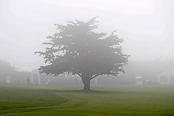 June 12, 2019 - Pebble Beach, CA, U.S. - PEBBLE BEACH, CA - JUNE 12: A general view of a cypress tree in the fog on the 18th hole seen during a practice round for the 2019 US Open on June 12, 2019, at Pebble Beach Golf Links in Pebble Beach, CA. (Photo by Brian Spurlock/Icon Sportswire) (Credit Image: © Brian Spurlock/Icon SMI via ZUMA Press)