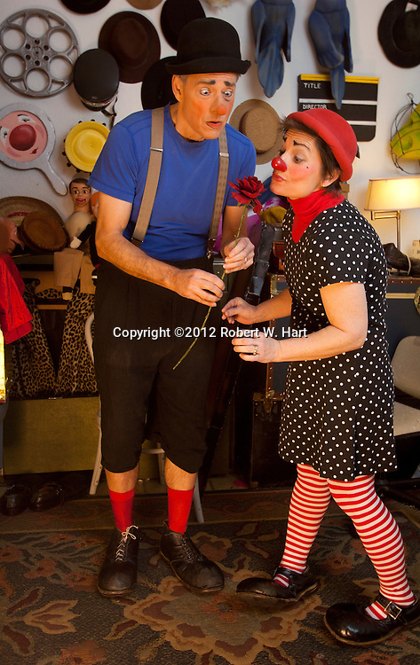 Dick Monday and wife, Tiffany Riley, are both professional clowns. Photographed at their Irving, Texas home on January 18, 2012. Photographer: Robert W. Hart