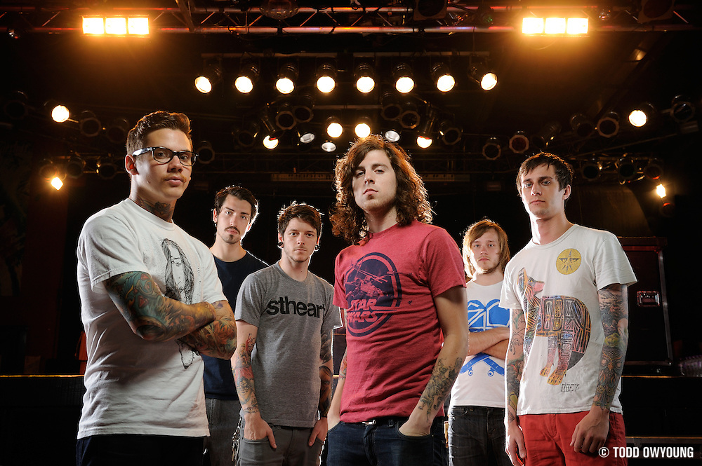 """Portraits of the metalcore band The Devil Wears Prada, photographed on the """"Back to the Roots"""" tour on July 16, 2010 by music photographer Todd Owyoung."""