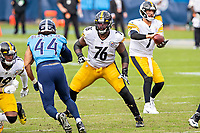 NASHVILLE, TN - OCTOBER 25:  Chukwuma Okorafor #76 of the Pittsburgh Steelers pass blocks during a game against the Tennessee Titans at Nissan Stadium on October 25, 2020 in Nashville, Tennessee.  The Steelers defeated the Titans 27-24.  (Photo by Wesley Hitt/Getty Images) *** Local Caption *** Chukwuma Okorafor