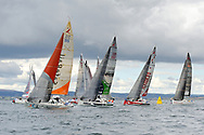 Damien CLOAREC (SAFERAIL), Benjamin DUTREUX (SATECO), Anthony MARCHAND (OVIMPEX - SECOURS POPULAIRE), Pierre LEBOUCHER (ARDIAN) during the start of the Douarnenez Fastnet Solo 2017 on September 17, 2017 in Douarnenez, France - Photo Francois Van Malleghem / ProSportsImages / DPPI