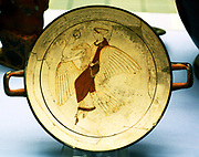 White-ground drinking cup (kylix) potted in Euphronios' workshop. Aphrodite, the goddess of Love, flies through the skies on her goose. The cup was found together with three red-figured vases, two deep cups (skyphoi) and an oil-jar (Lakythos). Made in Athens about 460BC and attributed to the Pistoxenos Painter