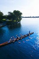Sculls (rowboats), Alster Lake, Hamburg, Germany