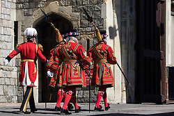 Windsor, UK. 17th April, 2021. Beefeaters arrive at Windsor Castle to take part in the funeral of the Duke of Edinburgh. The funeral of Prince Philip, Queen Elizabeth II's husband, is taking place at St George's Chapel in Windsor Castle, with the ceremony restricted to 30 mourners in accordance with current coronavirus restrictions.