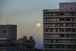 November 22, 2018 - Curitiba, Brazil - CURITIBA, PR - 22.11.2018: LUA CHEIA EM CURITIBA - Full moon rising between buildings in downtown Curitiba on Thursday (22) (Credit Image: © Henry Milleo/Fotoarena via ZUMA Press)