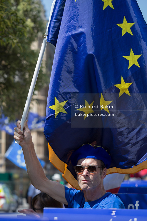 On the day that the Conservative Party elects its leader and the country's Prime Minister, Boris Johnson, pro-EU Remain protesters gather on College Green after the result, on 23rd July 2019, in Westminster, London, England.