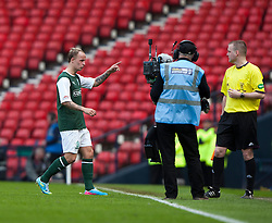 Hibernian's Leigh Griffiths leaves the park before the start of extra time..Hibernian 4 v 3 Falkirk, William Hill Scottish Cup Semi Final, Hampden Park..©Michael Schofield..