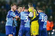 Wycombe players celebrates at full time during the EFL Sky Bet League 1 match between Wycombe Wanderers and Plymouth Argyle at Adams Park, High Wycombe, England on 26 January 2019.