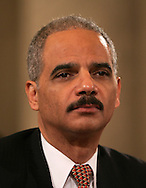Eric Holder at a confirmation hearing to become Attorney General. Photo by Dennis Brack