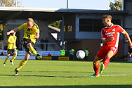 Burton Albion  forward Liam Boyce (27) shoots at goal during the EFL Sky Bet League 1 match between Burton Albion and Scunthorpe United at the Pirelli Stadium, Burton upon Trent, England on 29 September 2018.