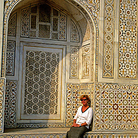 Asia; India, Agra. Woman at  Tomb of Itmad-ud-Daulah, the Baby Taj.