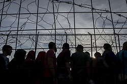 Oct. 14, 2015 - Lesbos Island, Greece - Migrants arrive in the Moria refugee camp on the Greek Island of Lesbos after crossing the Aegean sea from Turkey.  (Credit Image: © Antonio Masiello/NurPhoto via ZUMA Press)