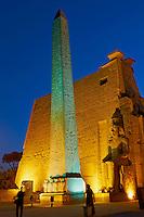 Afrique du Nord, Egypte, Louxor, Temple de Louxor, Patrimoine mondial de l'UNESCO, Vallée du Nil, rive gauche du Nil, obelisque de Ramses II // Africa, Egypt, Louxor, Temple of Luxor, World Heritage of the UNESCO, east bank of the river Nile, obelisk of Ramesses II