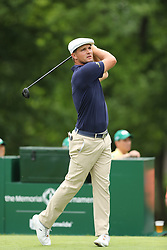 May 30, 2019 - Dublin, OH, U.S. - DUBLIN, OH - MAY 30: Bryson DeChambeau plays his shot from the ninth tee during the first round of The Memorial Tournament on May 30th 2019  at Muirfield Village Golf Club in Dublin, OH. (Photo by Ian Johnson/Icon Sportswire) (Credit Image: © Ian Johnson/Icon SMI via ZUMA Press)
