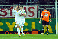 FOOTBALL - FRENCH CHAMPIONSHIP 2011/2012 - L1 - STADE BRESTOIS v MONTPELLIER HSC - 17/09/2011 - PHOTO PASCAL ALLEE / DPPI - JOY EDEN BEN BASAT (BREST) AFTER HIS GOAL. HE 'S CONGRATULATED BY ROMAIN POYET