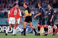 Robert Pires (Arsenal) clashes with Lazio defender Sinisa Mihajlovic as referee Hellmut Krug steps in. S.S.Lazio 1:1 Arsenal, UEFA Champions League, Group B, Olympic Stadium, Rome, 17/10/2000. Credit Colorsport / Stuart MacFarlane.